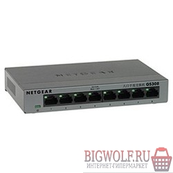 картинка netgear gs308-100pes 8-port 10/100/1000 mbps switch with external power supply,metallic case в интернете магазине BIGWOLF.RU