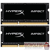 картинка память kingston ddr3 sodimm 8gb kit 2x4gb hx316ls9ibk2/8 {pc3-12800, 1600mhz, 1.35v, hyperx impact black series} в интернете магазине BIGWOLF.RU